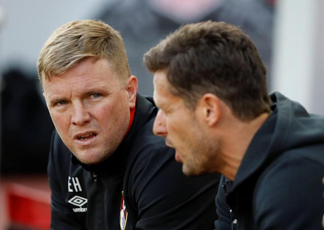 "Soccer Football - Premier League - Liverpool vs AFC Bournemouth - Anfield, Liverpool, Britain - April 14, 2018 Bournemouth manager Eddie Howe Action Images via Reuters/Carl Recine EDITORIAL USE ONLY. No use with unauthorized audio, video, data, fixture lists, club/league logos or ""live"" services. Online in-match use limited to 75 images, no video emulation. No use in betting, games or single club/league/player publications. Please contact your account representative for further details."