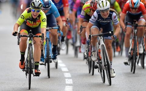 <span>Chloe Hosking (left) beat Letizia Paternoster in the sprint to win stage two at the Madrid Challenge</span> <span>Credit: GETTY IMAGES </span>
