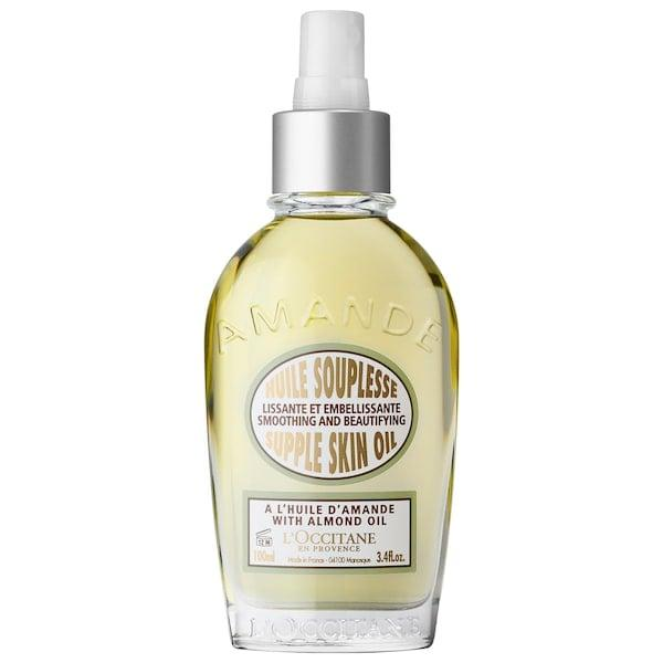 """<p>Earning more than 600 5-star reviews, this omega-rich <product href=""""https://www.sephora.com/product/almond-smoothing-and-beautifying-supple-skin-oil-P162554?icid2=products%20grid:p162554"""" target=""""_blank"""" class=""""ga-track"""" data-ga-category=""""internal click"""" data-ga-label=""""https://www.sephora.com/product/almond-smoothing-and-beautifying-supple-skin-oil-P162554?icid2=products%20grid:p162554"""" data-ga-action=""""body text link"""">L'Occitane Almond Smoothing and Beautifying Supple Skin Oil</product> ($50) virtually melts into your skin and leaves a satiny feeling and a subtle almond scent behind.</p>"""