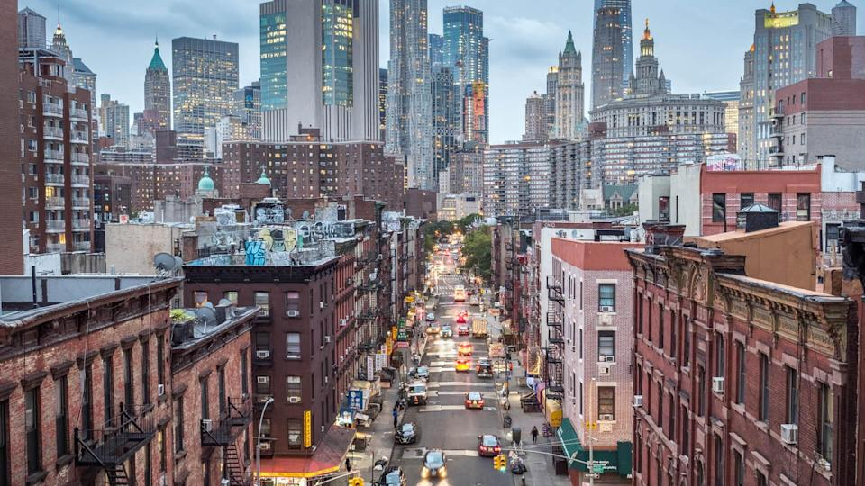 High angle view of Lower Manhattan cityscape - Chinatown, New York, USA.