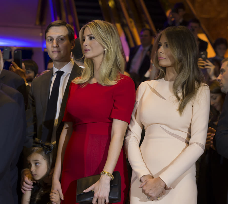 <p>Jared Kushner, Ivanka Trump, Melania Trump attend a Donald Trump victory celebration after the New York primary. Ivanka and Melania complimented each other well in pink and red sheaths. (Photo: Getty Images) </p>