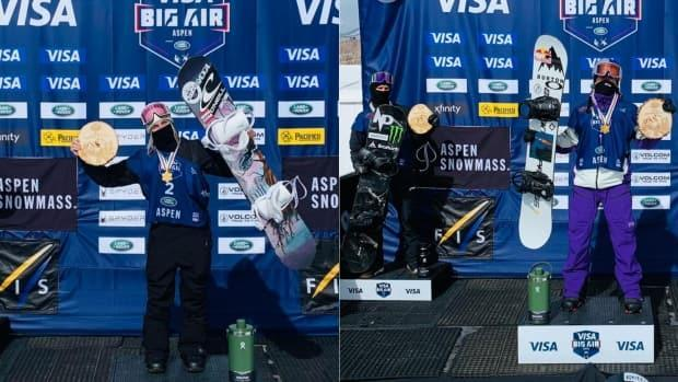 Laurie Blouin, left, and Mark McMorris, right, earned gold in their respective events at the snowboard and freeski world championships on Tuesday. Fellow Canadian Max Parrot, centre, earned silver behind McMorris. (Twitter/@fissnowboard - image credit)