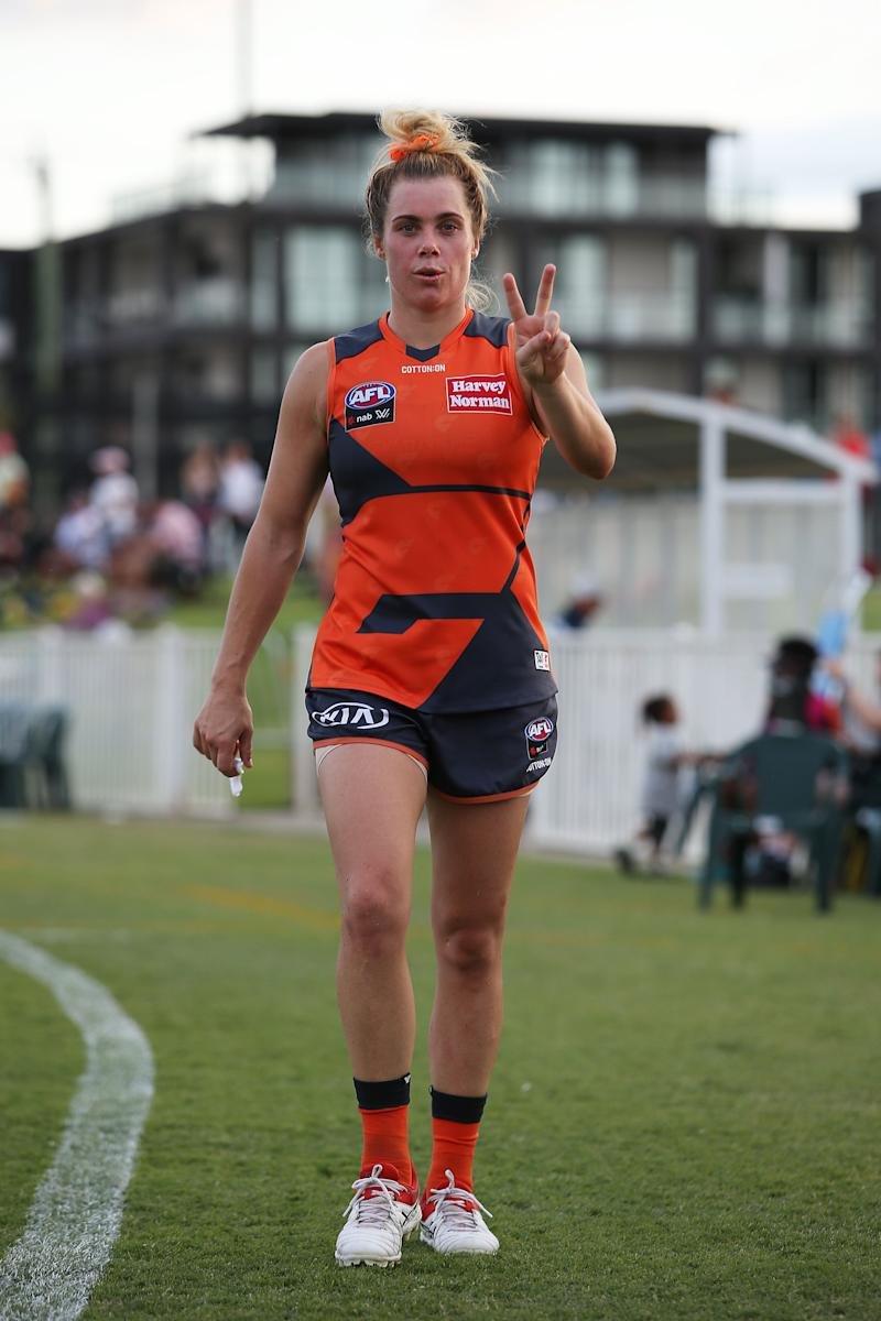 Jacinda Barclay was found dead at her home near Perth on Monday. The Greater Western Sydney Giants player is shown here at Robertson Oval on March 7 in Wagga Wagga. (Photo: Jack Thomas via Getty Images)