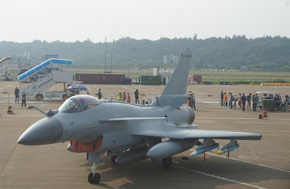 A photo of a J-10C fighter jet at an airshow in China on September 29, 2021.