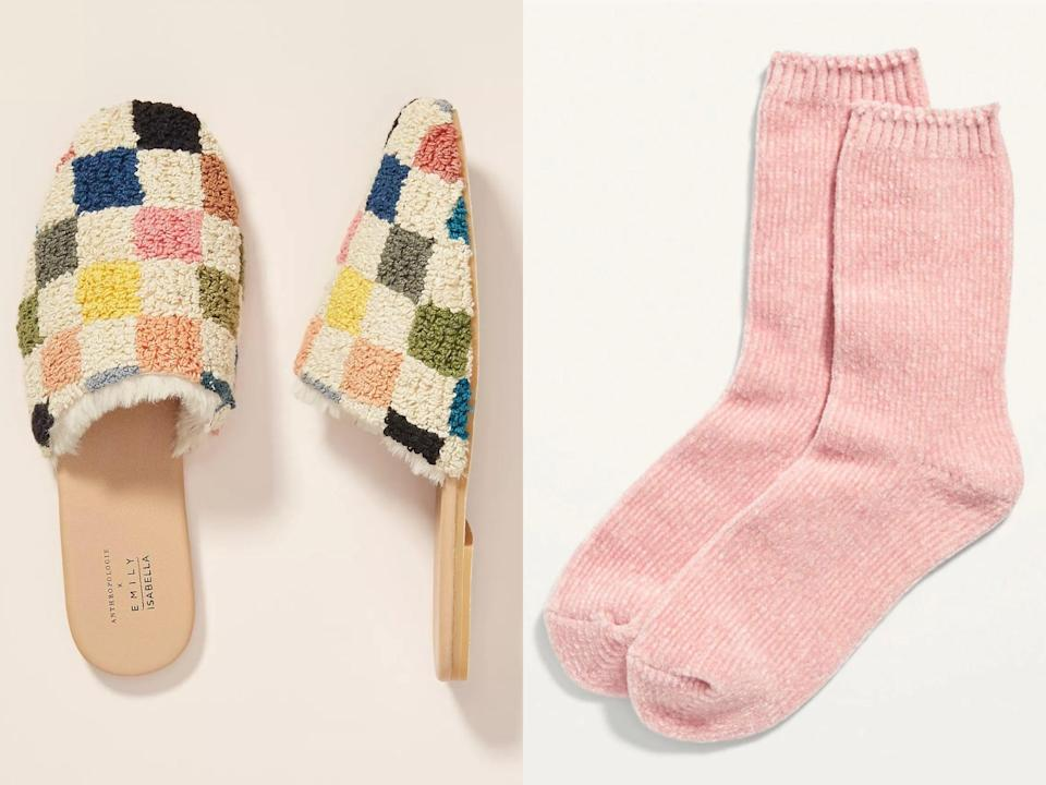 <p>These versatile indoor-outdoor <span>Anthropologie Emily Isabella Sherpa Slippers</span> ($112, originally $160) in an eye-catching graphic pattern are sure to command attention, especially when teamed with a pair of ultracozy <span>Old Navy Plush Chenille Crew Socks</span> ($8).</p>