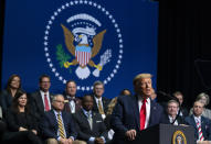 President Donald Trump speaks at the North Carolina Opportunity Now Summit, at Central Piedmont Community College, Friday, Feb. 7, 2020, in Charlotte, N.C. (AP Photo/Evan Vucci)