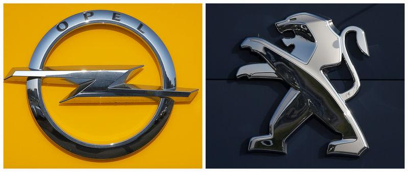 A combination picture shows the logos of Opel and Peugeot car manufacturers at dealerships of the brands in Strasbourg