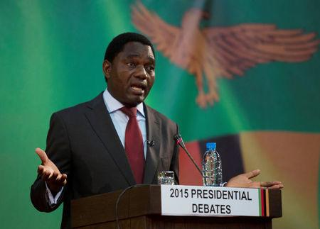 FILE PHOTO: Zambian opposition United Party for National Development (UPND) leader Hakainde Hichilema speaks during a live television debate in Lusaka