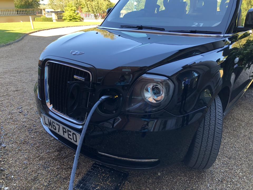 London's new electric black cab has a range of about 65 miles on a single charge. It can get an 80% charge in 25 minutes using a rapid charger. Photo: Alanna Petroff