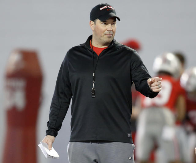 Ohio State University football coach Ryan Day is seen during an NCAA college football practice in Columbus, Ohio, Wednesday, March 6, 2019. (AP Photo/Paul Vernon)
