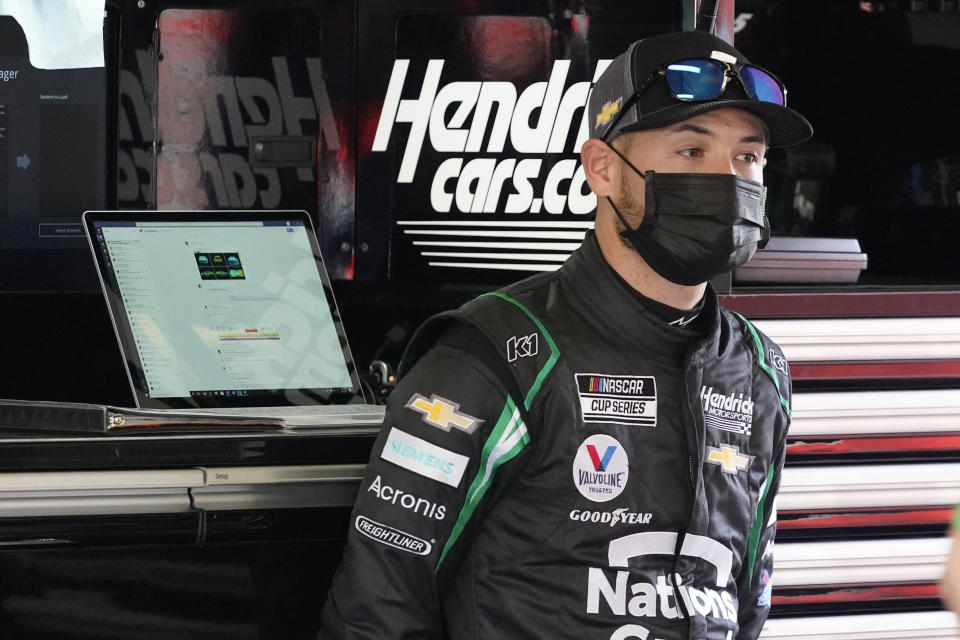 Kyle Larson in his garage during a NASCAR Daytona 500 auto race practice session at Daytona International Speedway, Wednesday, Feb. 10, 2021, in Daytona Beach, Fla. (AP Photo/John Raoux)