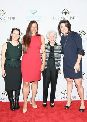 Mrs. Jaffe with the recipients of the 2018 Roslyn S. Jaffe Award. From Left: Janice Zaballero (BTTF), Nicole Lewis (Generation Hope), Mrs. Roslyn S. Jaffe, Catherine Lindroth (SummerCollab) Photo credit: BFA/Angela Pham