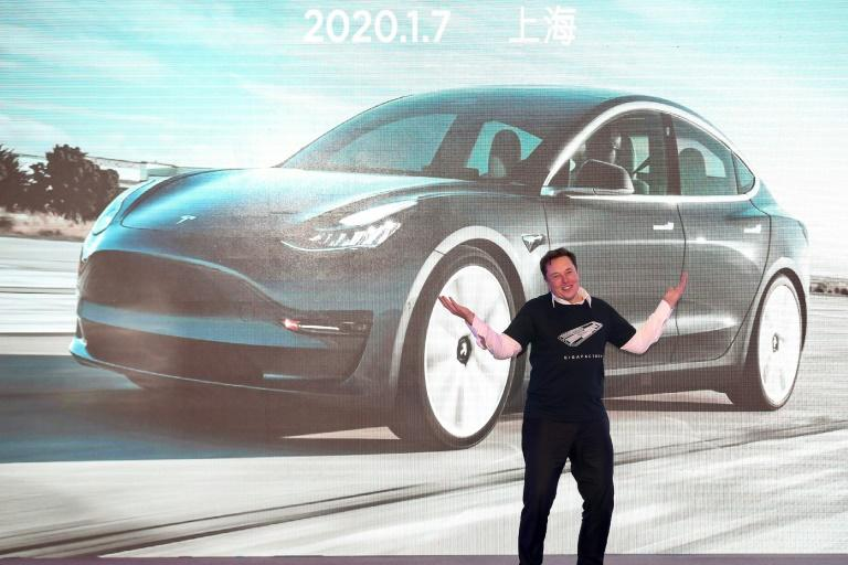 Tesla chief Elon Musk, during the delivery ceremony for the firm's China-made Model 3 in Shanghai in January 2020