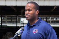 """FILE - In this Monday, June 22, 2020, file photo, Republican U.S. Senate candidate John James speaks at Weir Farms in Hanover Township, Mich. First-term Democratic Sen. Gary Peters of Michigan is trying to hang onto his seat. The low-key, understated, maybe even """"boring"""" senator is betting voters care more about his effectiveness as he desperately fights to keep a seat his party is counting on to take the Senate majority. Peters is finding it tougher to shake Republican John James. Michigan has something it has not seen in 20 years: a competitive Senate contest. (AP Photo/David Eggert, File)"""