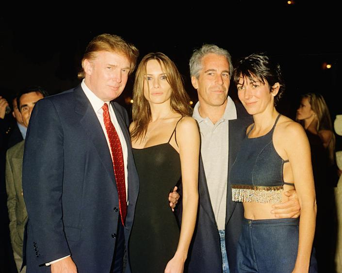 From left, Donald Trump, Trump's future wife, Melania Knauss, Jeffrey Epstein, and Ghislaine Maxwell
