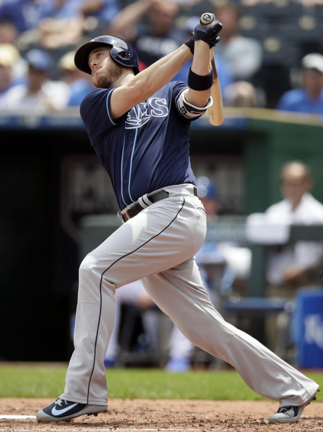 Tampa Bay Rays designated hitter C.J. Cron hits a solo home run off Kansas City Royals starting pitcher Jason Hammel during the third inning of a baseball game at Kauffman Stadium in Kansas City, Mo., Wednesday, May 16, 2018. (AP Photo/Orlin Wagner)