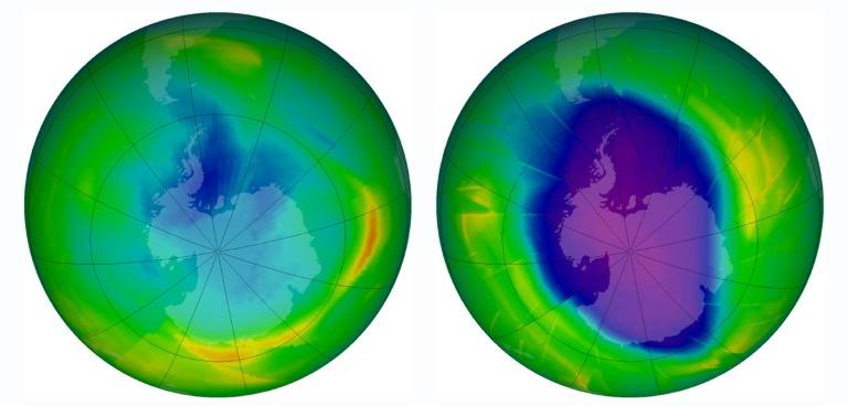 A combination of two images released by the Nasa Earth Observatory on December 1, 2009 showing the size and shape of the ozone hole in 1979 (L) and in 2009
