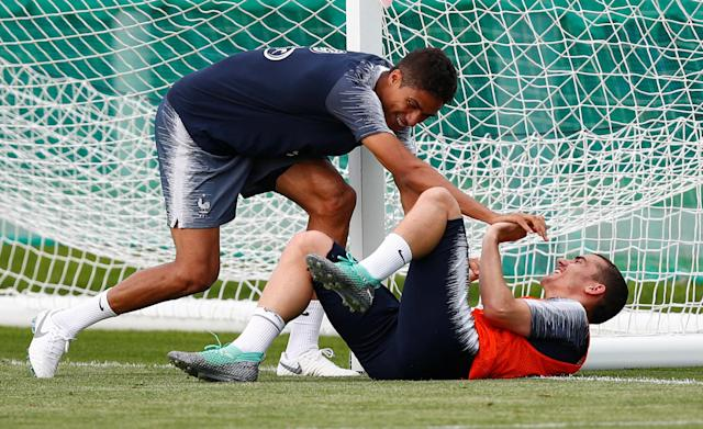 Soccer Football - World Cup - France Training - France Training Camp, Moscow, Russia - June 23, 2018 France's Raphael Varane and Antoine Griezmann during training REUTERS/Axel Schmidt