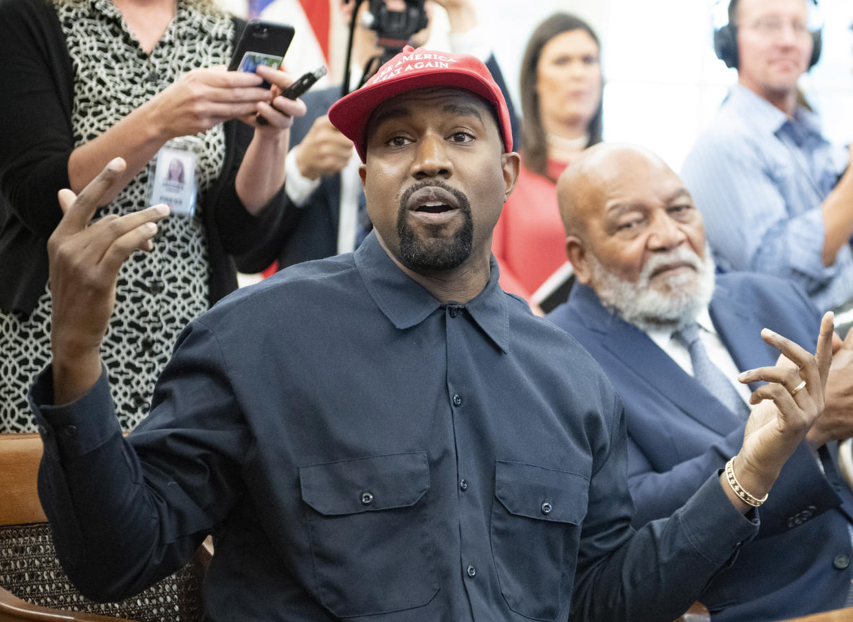 Kanye West during his meeting with President Trump. (Photo: Ron Sachs/Consolidated News Pictures/Getty Images)