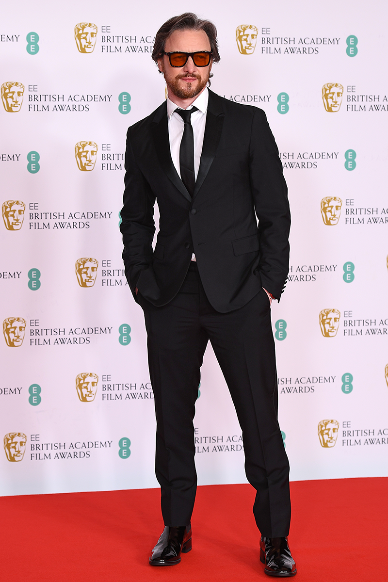 <p>Last but not least is James McAvoy, who goes for a suave suit with tinted glasses.</p>