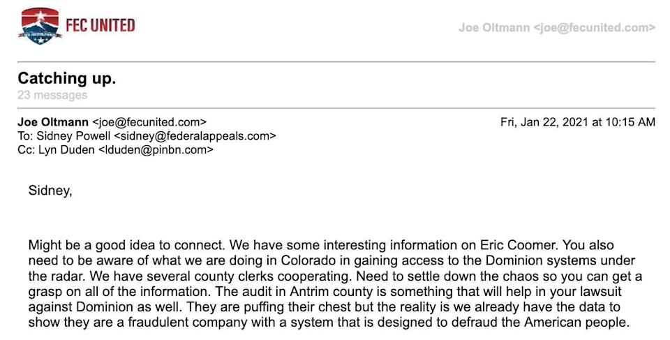 Email from Joe Oltmann to Sidney Powell