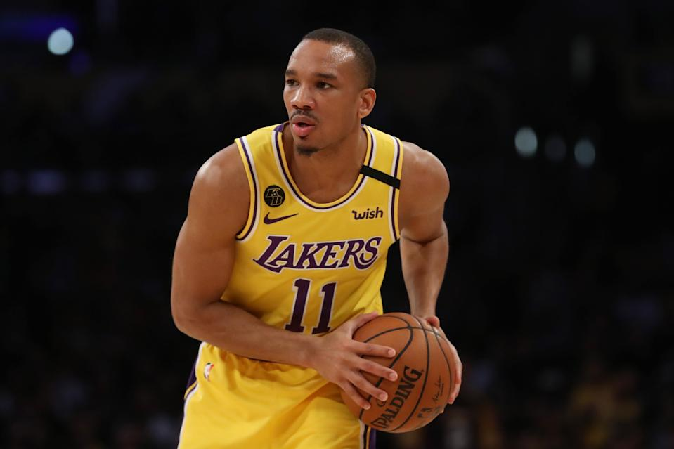Avery Bradley #11 of the Los Angeles Lakers looks to pass the ball in a game against the New Orleans Pelicans during the second half at Staples Center on February 25, 2020.
