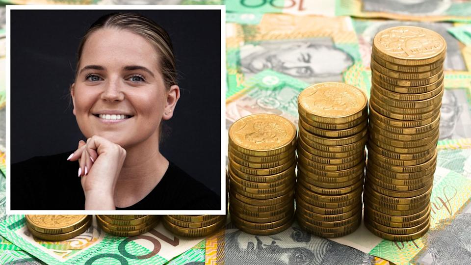 Rachel Tucker smiles at the camera, image of Australian $100 notes with $1 coins stacked in increasing piles in investing concept.