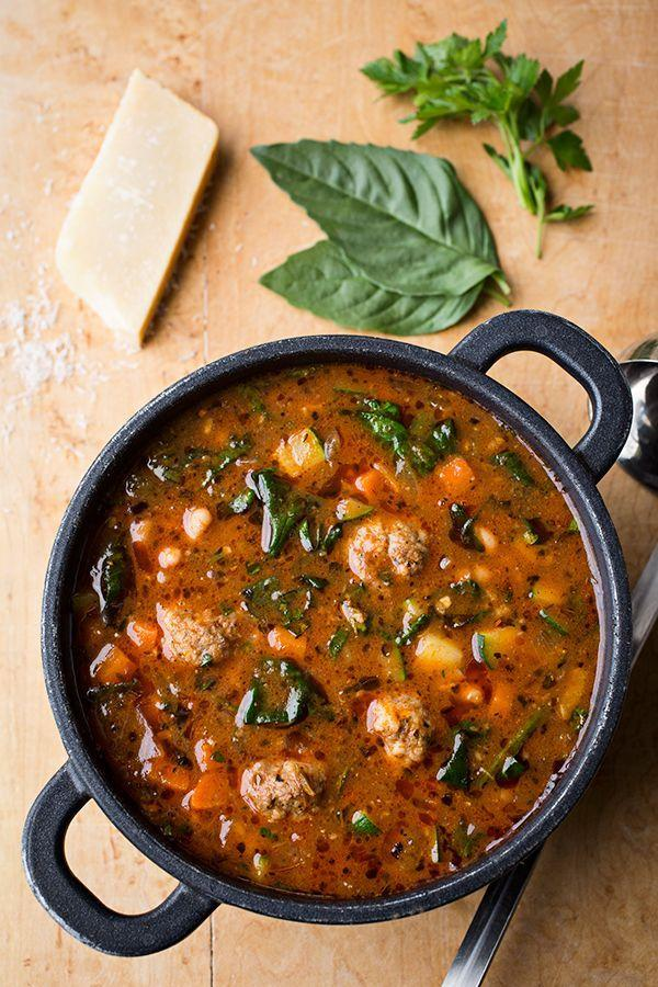 "<p>Fact: Minestrone is better with meatballs.</p><p>Get the recipe from <a href=""http://thecozyapron.com/italian-meatball-minestrone-soup-and-an-opportunity-to-experience-true-joy-in-servitude/"" rel=""nofollow noopener"" target=""_blank"" data-ylk=""slk:The Cozy Apron"" class=""link rapid-noclick-resp"">The Cozy Apron</a>.</p>"