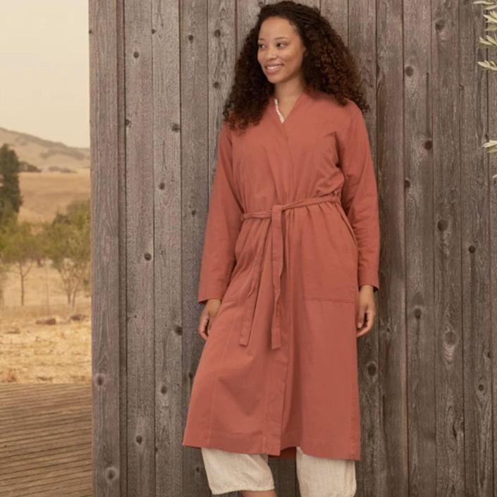 "Known for its quality linen bedsheets, Coyuchi also makes robes for everyday wear, like this sienna-colored number. It's made from certified organic cotton that gets better with every wash—and the mid-calf length will keep you toasty if you wear outside on a cool spring morning. $88, Coyuchi. <a href=""https://www.coyuchi.com/womens-solstice-relaxed-robe.html"" rel=""nofollow noopener"" target=""_blank"" data-ylk=""slk:Get it now!"" class=""link rapid-noclick-resp"">Get it now!</a>"