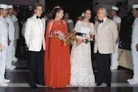<p>A Monegasque royal family outing (from left: Prince Albert, Grace Kelly, Princess Caroline, and Prince Rainier) at the 1976 Red Cross Ball in Monte Carlo.</p>