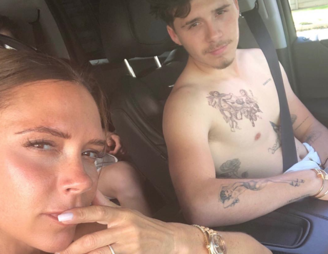 Victoria Beckham's Instagram comment section is filled with commenters mom-shaming her for allowing her 19-year-old son, Brooklyn, to have so many tattoos. (Photo: Victoria Beckham via Instagram)