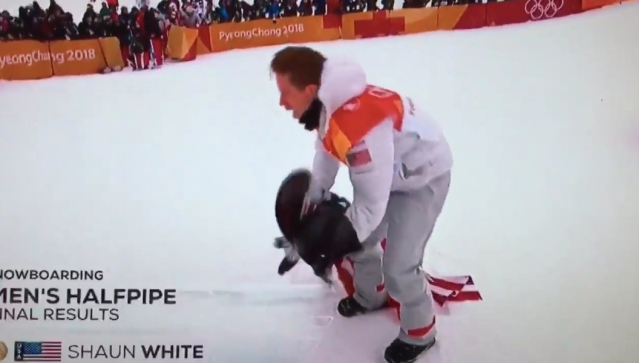 Shaun White drags the flag and causes offence