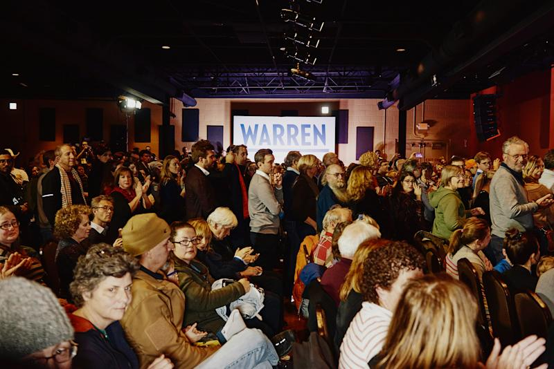 Guests at Elizabeth Warren's Derry GOTV Event at the Tupelo Music Hall in Derry, NH on Feb. 6, 2020. | Tony Luong for TIME