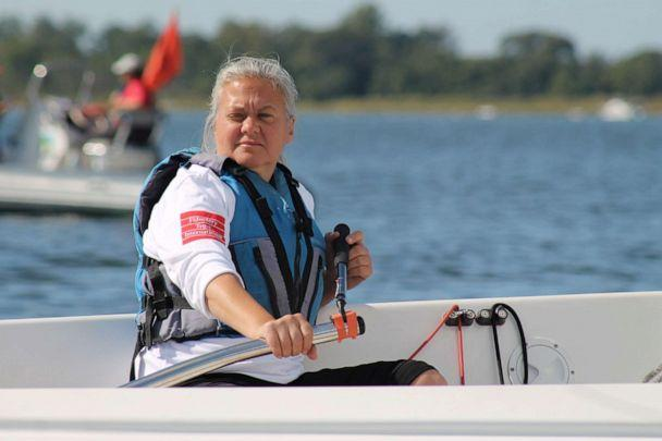 PHOTO: Pauline Dowell is a blind sailor who competes in competitions around the world. (JJ Salvator Photography via Clagett Regatta)