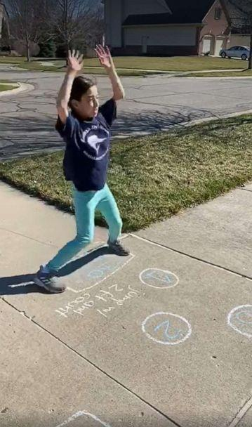 PHOTO: Maricela Montemayor created a hopscotch obstacle course for her daughter to exercise outdoors during the coronavirus pandemic. (Maricela Montemayor)