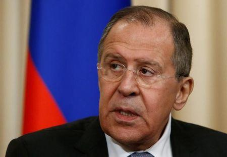 Russian Foreign Minister Lavrov speaks during news conference with European Union's Foreign Policy chief Mogherini following their meeting in Moscow