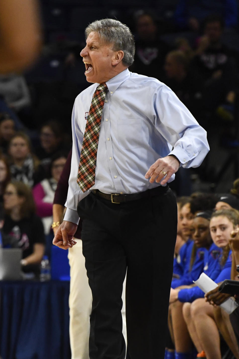 DePaul head coach Doug Bruno argues a call during the first half of an NCAA college basketball game against Connecticut on Monday, Dec. 16, 2019. in Chicago, Ill. (AP Photo/Matt Marton)