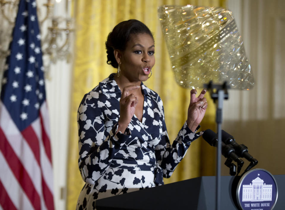 """<p>To launch BetterMakeRoom.org, Michelle Obama wore a black and white Diane Von Furstenberg. The site, made possible by more than 20 media, business and nonprofit groups, is a space for teens to share information on continuing education. """"We want to create a space where young people can engage with each other, where they can inspire each other to complete their education beyond high school,"""" she said. Many celebrities are also involved in spreading the word on the initiative including Ciara, Tony Goldwyn, Kal Penn, and more. </p>"""