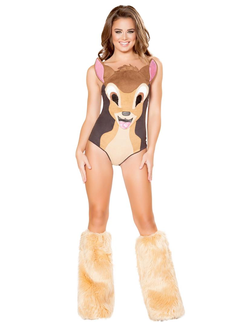 """Oh deer. Yet another <a href=""""https://www.costumesupercenter.com/products/sexy-sweet-deer-costume"""" target=""""_blank"""">childhood-ruining sexy outfit for Halloween.</a> This one is actually more discreet than others we've seen -- except for the way Bambi is sticking out his tongue in desire. We're feeling kind of awkward now."""