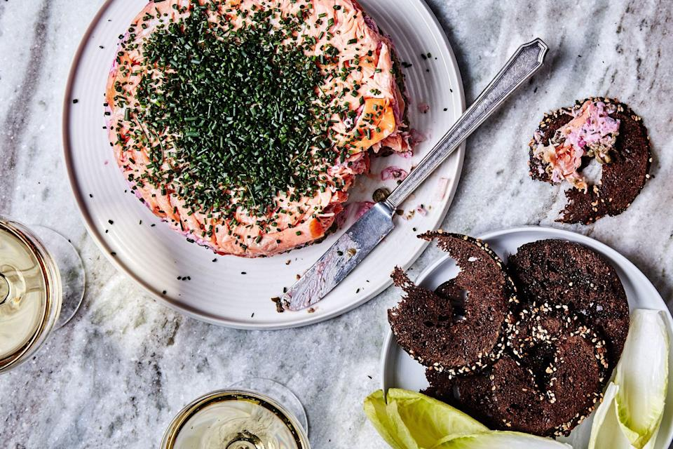 "The classic seven-layer dip takes to the sea with this elegant recipe, which matches hot-smoked salmon with beet horseradish, two kinds of soft cheese, and crunchy vegetables and herbs. <a href=""https://www.epicurious.com/recipes/food/views/smoked-salmon-7-layer-dip?mbid=synd_yahoo_rss"" rel=""nofollow noopener"" target=""_blank"" data-ylk=""slk:See recipe."" class=""link rapid-noclick-resp"">See recipe.</a>"