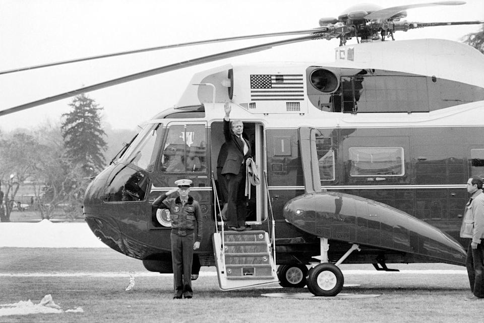<p>Don't think that the president <em>only</em> has a plane for flying around everywhere. There's also a helicopter for more local or smaller locations—Marine One. </p>
