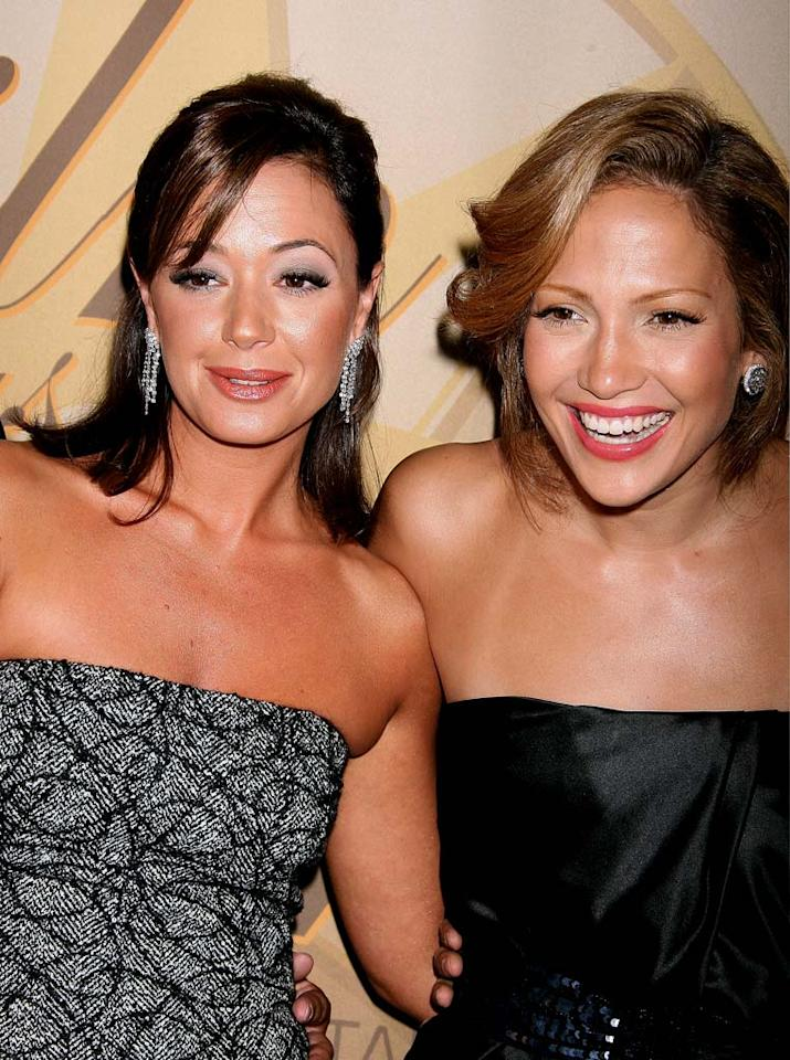 "Fellow New Yorkers Leah Remini and Jennifer Lopez glow at the 2006 Crystal + Lucy Awards in Century City, CA. Jeffrey Mayer/<a href=""http://www.wireimage.com"" target=""new"">WireImage.com</a> - June 6, 2006"