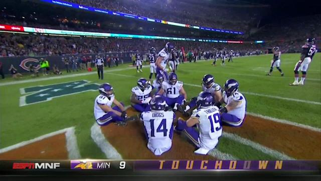 "The Vikings recreated the kids' game ""duck, duck, goose"" after a touchdown. (AP)"