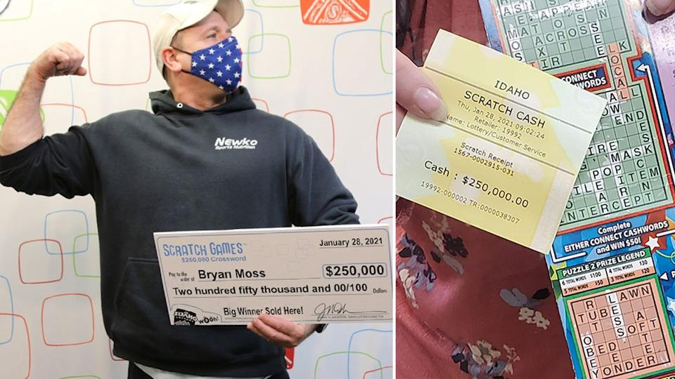 Idaho business owner, Bryan Moss, smiles with his check for $250,000 (on the left) and shared on the right is a picture of his winning ticket, that he shared to Facebook
