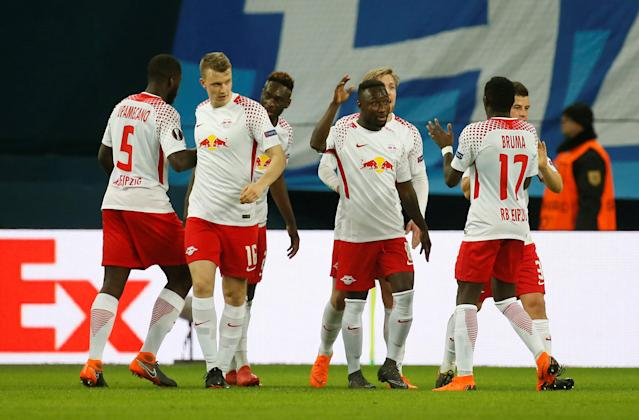 Soccer Football - Europa League Round of 16 Second Leg - Zenit Saint Petersburg vs RB Leipzig - Stadium St. Petersburg, Saint Petersburg, Russia - March 15, 2018 RB Leipzig's Jean-Kevin Augustin celebrates with team mates after scoring their first goal REUTERS/Anton Vaganov