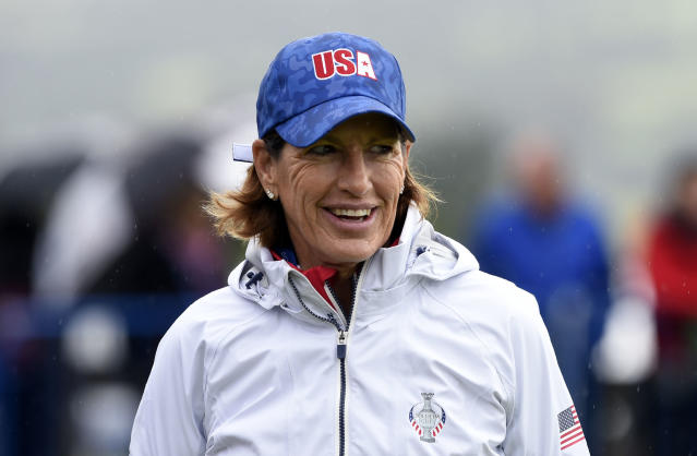 Team USA captain Juli Inkster during the preview day ahead of the 2019 Solheim Cup at Gleneagles Golf Club, Scotland, Monday Sept. 9, 2019. (Ian Rutherford/PA via AP)
