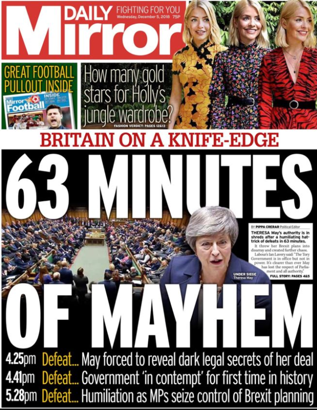 The paper said Parliament was in chaos (Daily Mirror)