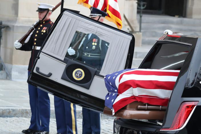 The remains of former President George H. W. Bush arrive at the National Cathedral in Washington, D.C., for a funeral service on Dec. 5, 2018. (Photo: Alex Edelman/AFP/Getty Images)