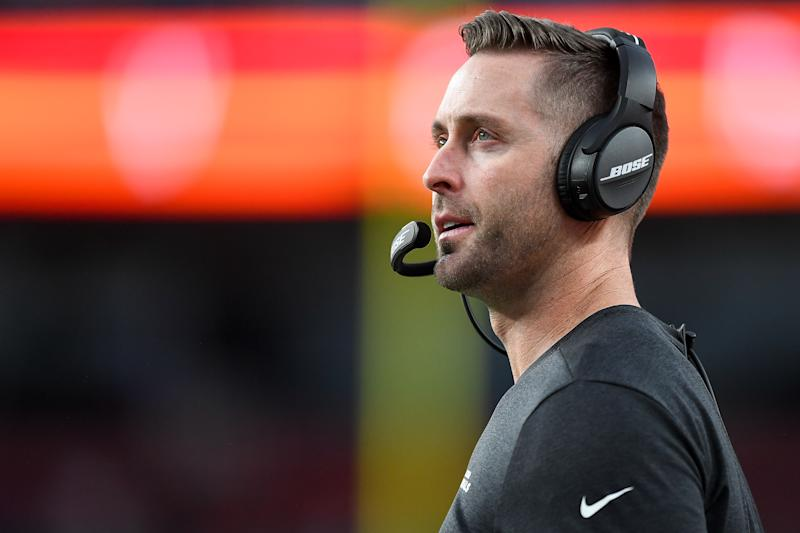 DENVER, CO - AUGUST 29: Head coach Kliff Kingsbury of the Arizona Cardinals looks on from the sideline during the first quarter of a preseason National Football League game against the Denver Broncos at Broncos Stadium at Mile High on August 29, 2019 in Denver, Colorado. (Photo by Dustin Bradford/Getty Images)