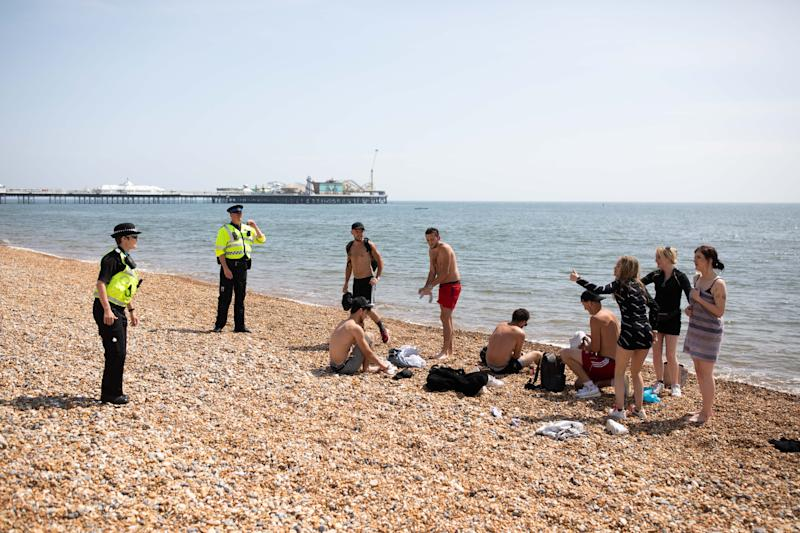 BRIGHTON, ENGLAND - MAY 09: Police patrol the beach on May 09, 2020 in Brighton, England. Officers are asking people to observe lockdown rules, and asking people who aren't to leave. The UK is continuing with quarantine measures intended to curb the spread of Covid-19, but as the infection rate is falling government officials are discussing the terms under which it would ease the lockdown. (Photo by Luke Dray/Getty Images)